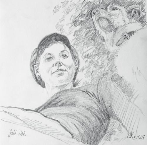 Wolfgang Krisai: Juli Zeh mit ihrem Hund. Zeichnung nach einem Foto aus einer Literaturzeitschrift.
