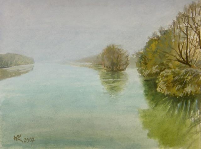 Wolfgang Krisai: Inn bei Braunau. Aquarell. 2007.