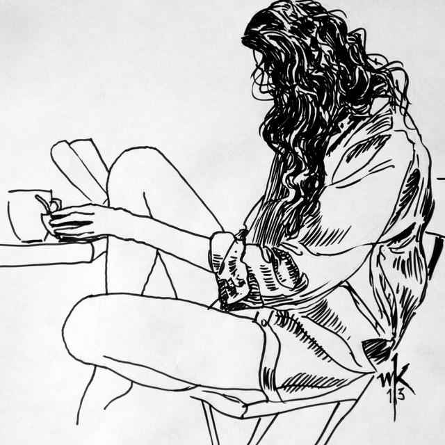 Wolfgang Krisai: Lesende mit einer Tasse Tee, Pinselstift, 2013.